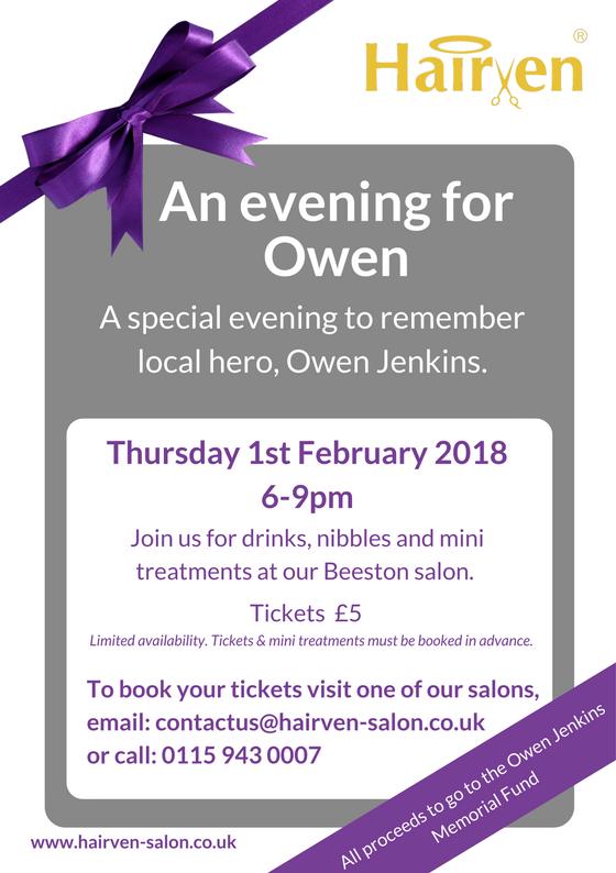 an evening for Owen Jenkins at Hairven hair salons beeston & Gedling