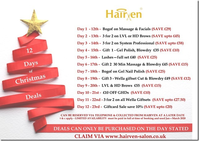 Christmas Gift Cards at hairven beauty salons in nottingham