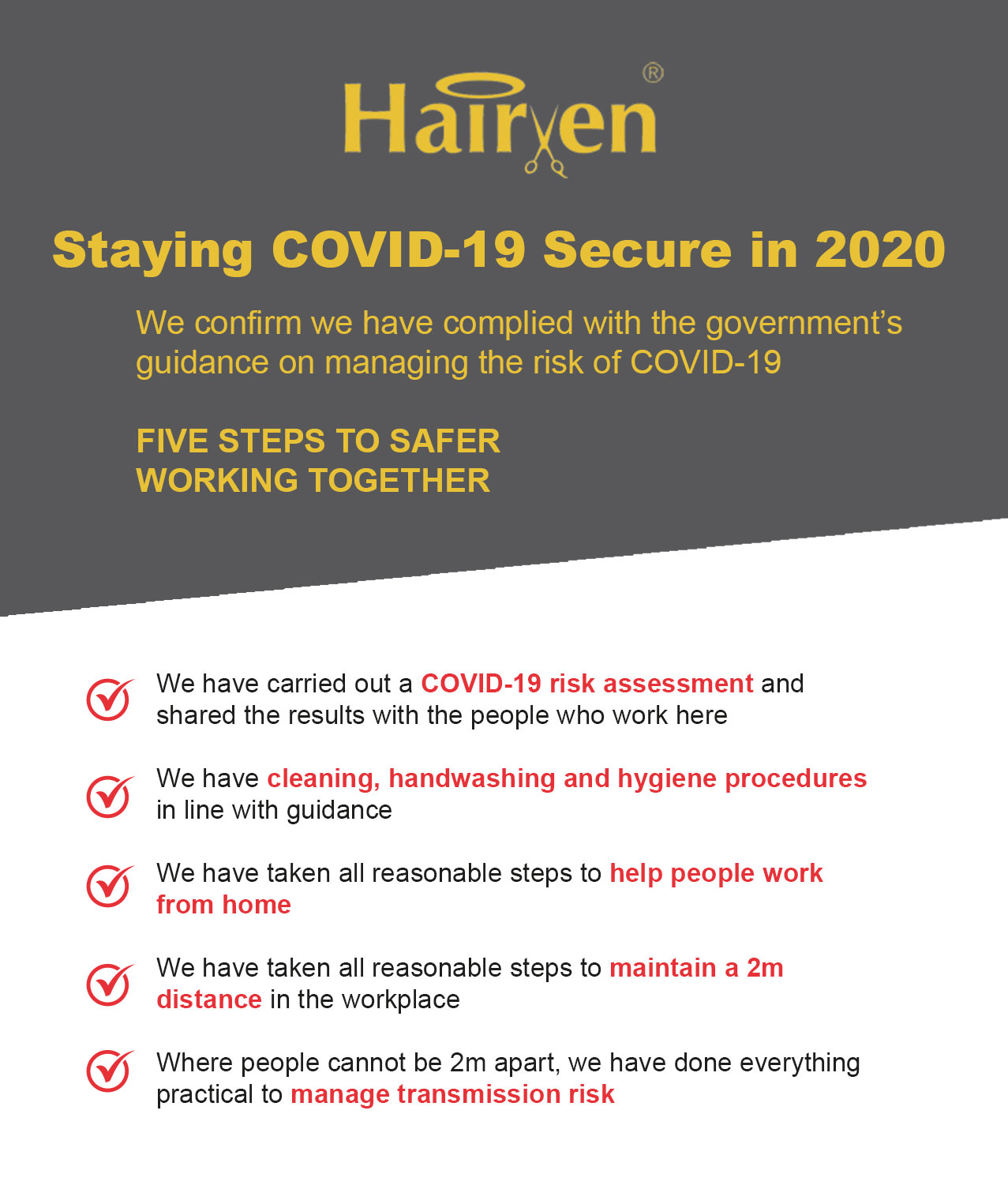 hairven Safe Staying COVID 19 Secure in 2020 nottingham hair and beauty salons